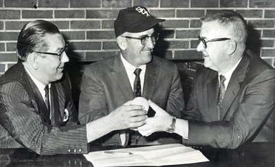 Jack Brickhouse told Sox owner Art Allyn (right, with Ed Short and Al Lopez) that a superstation with a wide audience could soon develop. But Allyn was dead-set on switching from WGN to get more games and more money from the lightly-watched WFLD-TV.