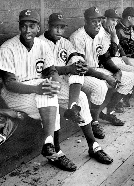Ernie Banks (from left), Billy Williams, George Altman and Ron Santo as the heart of the Cubs lineup Lou Brock joined in 1962. Williams in left and Altman in right flanked rookie Brock in the outfield.