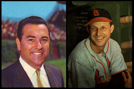 Remembering WGN and the Cubs: Boudreau and Musial - This CBM vintage baseball podcast features Lou Boudreau and Stan Musial.As a rookie announcer, Lou Boudreau (left) managed to craft a decent play-by-play of Stan Musial's (right) 3,000th hit at Wrigley Field in 1958