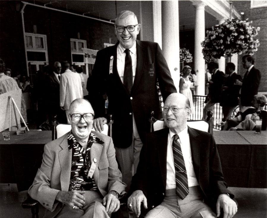 Joined by two friends, Jack Brickhouse soaks up the atmosphere at the Hall of Fame in 1983, when he was inducted into the broadcasters' wing with the Ford Frick Award.