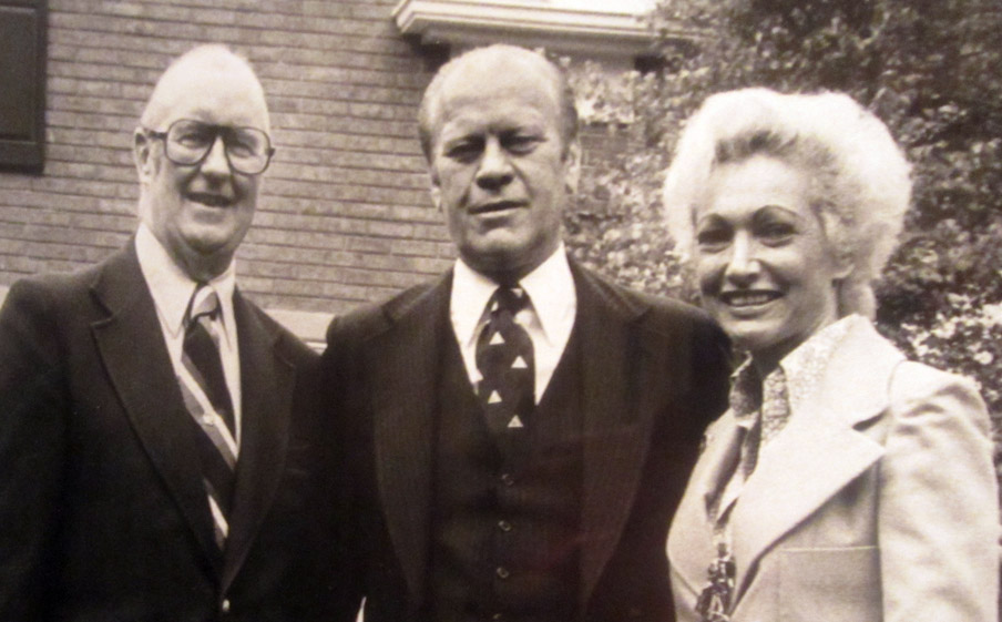 Pat Brickhouse (right) with former president Gerald Ford (center) and Jack Brickhouse. Pat will sing in the seventh inning on her late husband's bobblehead day at Wrigley Field.