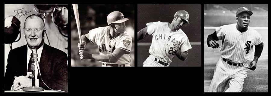 """Jack Brickhouse (left) made sure the Chicago audience welcomed (from left) Ernie Banks, Billy Williams and Minnie Minoso, who called the broadcaster his """"buddy."""" Banks, Williams photo credit Leo Bauby."""