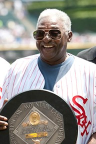Dick Allen holds 1972 MVP award at the June 2012 tribute to Allen at US Cellular Field