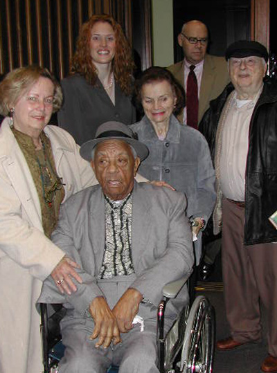 Duty (front) is joined by (from left) Dottie Fletcher, Amber Buchanan, Lois Stein, Gary Crawford and author Irving Stein after the mock trial of Buck Weaver in 2003.