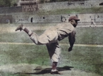 Double Duty Radcliffe's pitching form for Memphis. In his prime, he was a mid-90s mph flame thrower