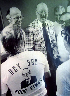 Jack Brickhouse and Jack Rosenberg (left) greet fans celebrating Brickhouse's 5,000th baseball broadcast in 1979.