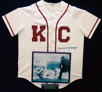 A Kansas City Monarchs uniform signed by Duty.