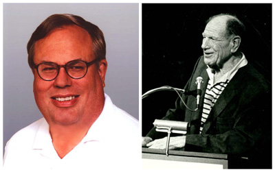Sox historian Rich Lindberg (left) credits Jack Brickhouse with a key behind-the-scenes role in rounding up enough investors to stock the ownership group of Bill Veeck (right) in 1975.