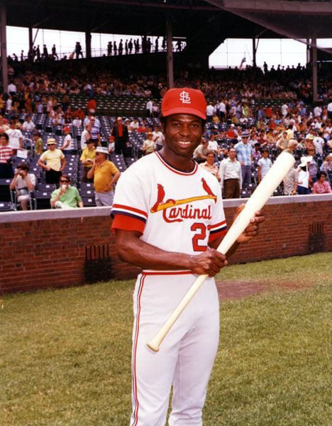 Lou Brock as a Cardinal in Wrigley Field, where he never ceased to try to prove to the Cubs they traded the wrong man.