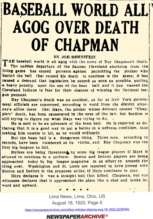 Ray Chapman's death superceded other news in Ohio in Aug. 1920.