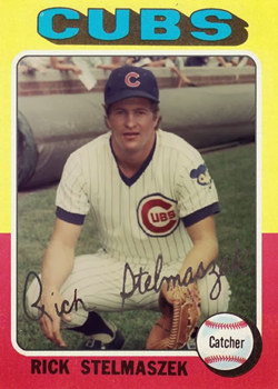 Rick Stelmaszek in his cup of coffee as a Cubs catcher late in 1974.