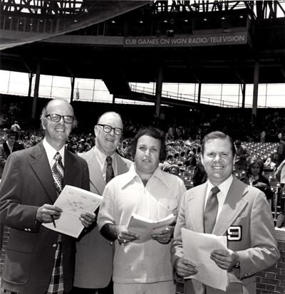The WGN-TV crew in the early 1970s. From left, Jack Rosenberg, Jack Brickhouse, producer-director Arne Harris and Brickhouse on-air sidekick Jim West.