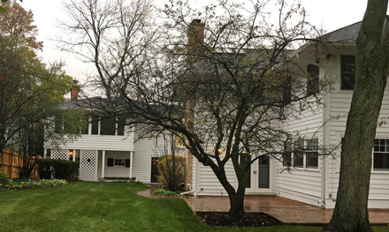 The main Veeck home (foreground) and the coach house that contained Bill Veeck's first apartment stand on an attractive corner lot in Hinsdale.